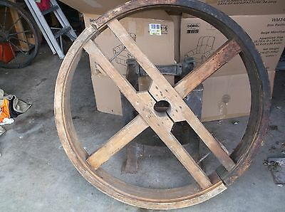 """44"""" flat split wooden pulley from old hammer mill"""
