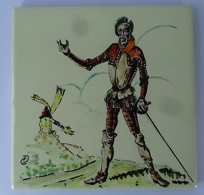 Vintage Spain Alcora Sanchis Tile Man Of La Mancha Don Quixote Hand Painted
