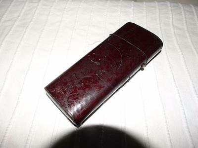 ANTIQUE BURGANDY LEATHER INSTRUMENTS CASE COLLECTIBLE c1820.
