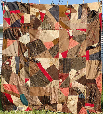 Antique Silk Patchwork CRAZY QUILT -Hand Briar Stitching- Cutter/Repair 66x76