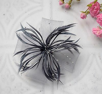 Hair Fascinator. Silver feather & bead spray hair fascinator /  brooch / corsage