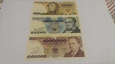 Set of 3 Polish PRL period banknotes in UNC condition