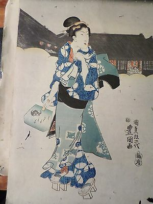 Old Utagawa Kunisadai Woodblock Print Japan Japanese Geisha