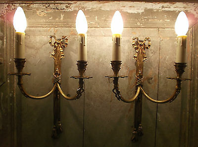 French a pair of chateau style wall light really gorgeous gold patina vintage