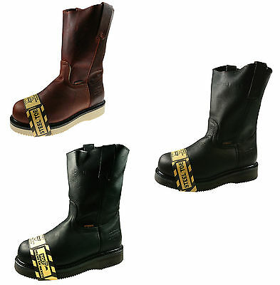 Men's Genuine Leather Steel Toe Work Boots Pull On Cowboy_Made in Mexico.