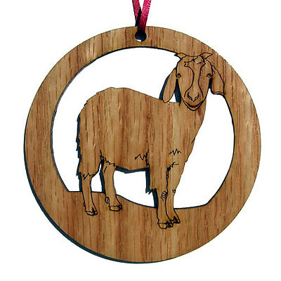 """LASER CUT 4"""" ROUND WOOD GOAT ORNAMENT or WALL PLAQUE"""