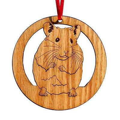 "LASER CUT 4"" ROUND WOOD HAMSTER ORNAMENT or WALL PLAQUE"