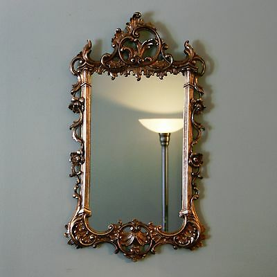 "Vtg 29"" x 17"" Gilt Gold Glass Hollywood Regency Ornate Wall Mirror Neoclassical"