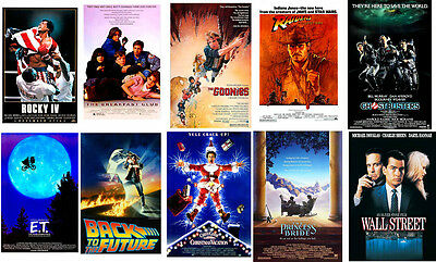 Retro 80's movie poster set Rocky ET Goonies Back to Future Wall St Ghostbusters