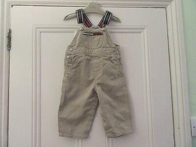 6-12m: Stone coloured canvas dungarees: Straps + logo: Designer, Tommy Hilfiger