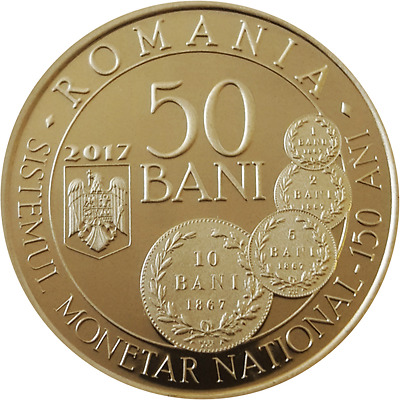 Romania 50 bani 2017 Brass Proof Coin /Monetary System Carol / mintage: 5000!