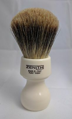 Zenith Resin Handle XL Best Badger White Shave Brush. 27mm. Made in Sicily. T3