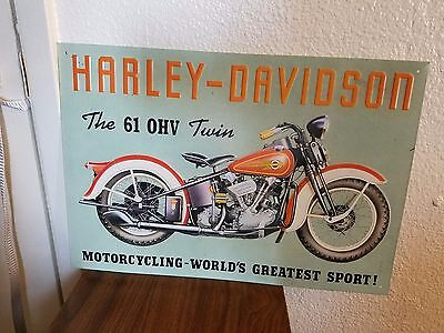 "HARLEY DAVIDSON 17"" x 12"" The 61 OHV Twin Home Decorative Plate Metal TIN SIGN"