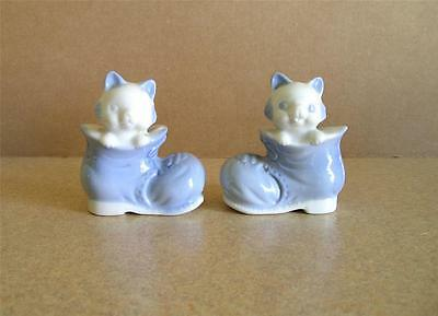 Vintage Cats in Boots Salt & Peppers Shakers Ceramic WALES Made in Japan