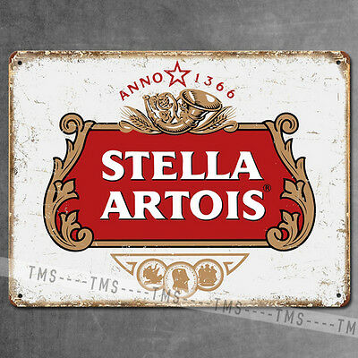 Stella Artois Vintage Style Metal Bar Sign Beer Tin Plaque Garage Pub Man Cave