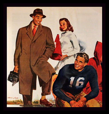1947 Hart Shaffner & Marx Mens Clothing Ad w College Football Scene Advertising