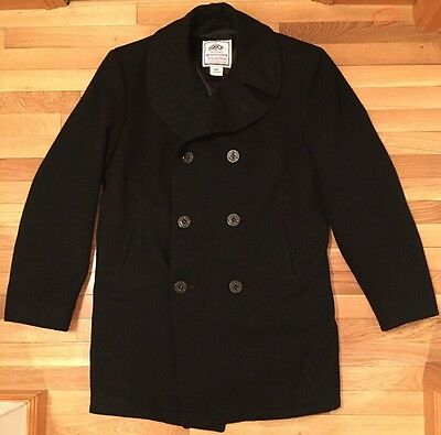 US Navy 100% Wool Pea Coat Size 44 XL USN Overcoat Peacoat Military Jacket Men's