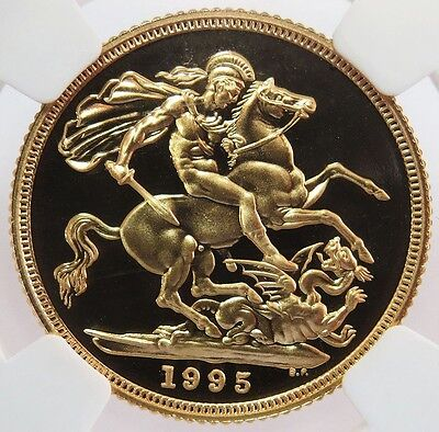 1995 Gold Great Britain Sovereign Coin Ngc Proof 69 Ultra Cameo