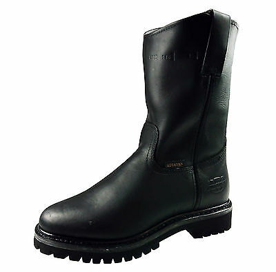 Men's Work Boots Genuine Leather Black Cowboy Pull On