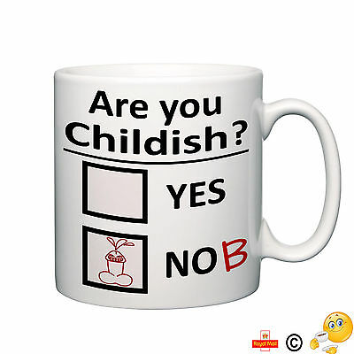 Are you childish nob novelty mug funny tea coffee home office humour ideal gift