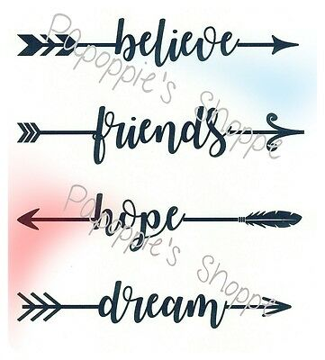 Stencil Arrow Words Motivational BELIEVE FRIENDS HOPE DREAM U Choose Size