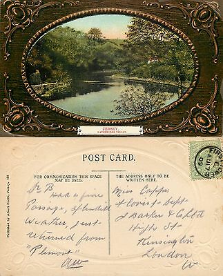 s11057 FIRST TOWER POSTMARK, Waterworks Valley Jersey postcard posted 1909 stamp