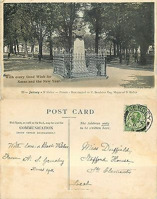 s11062 Baudains Monument LOCAL POST, St Helier, Jersey postcard posted 1911 stam