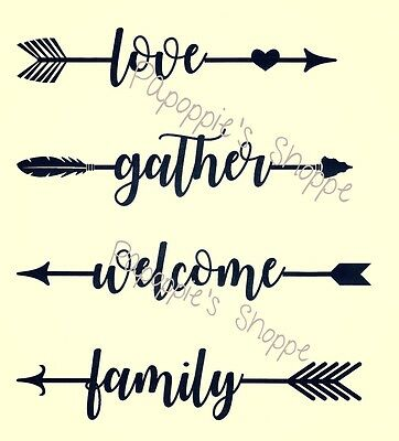 Stencil Arrow Words Motivational LOVE GATHER WELCOME FAMILY U Choose Size