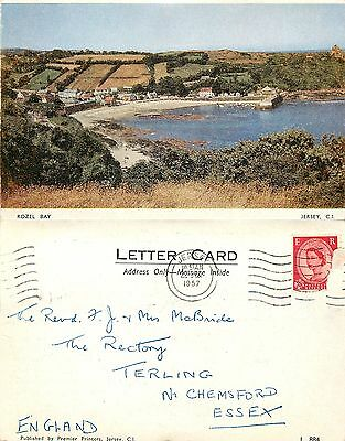 s11070 Rozel Bay, Jersey postcard posted 1957 stamp