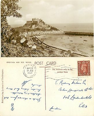 s11072 Mont Orgueil Castle, Jersey RP postcard posted 1951 stamp