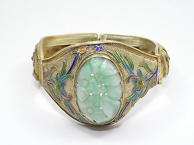 Antique Chinese Sterling Filigree Carved Jade Vermeil Floral Enamel Bracelet