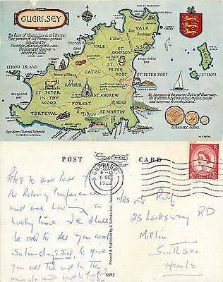 s11075 Map, Guernsey postcard posted 1960 stamp