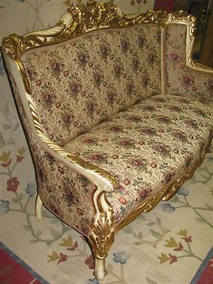 Exceptional c. 1900 French Rococo Cream & GIlt Sofa --  Fabulous Condition