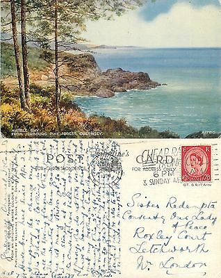 s11078 E W Trick watercolour, Marble Bay, Guernsey postcard posted 1958 stamp