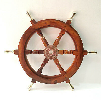 "24"" Ship Wheel Solid Cherry Wood Brass Handle Nautical Wall Decor Boat antique"