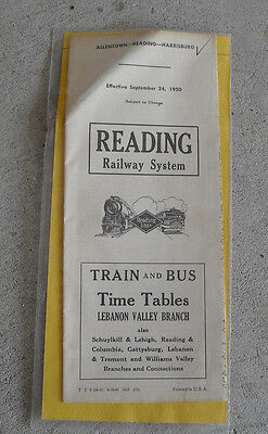 Vintage 1950 Reading Railway System Timetable with Map Phila AC
