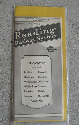 Vintage 1948 Reading Railway System Timetable with Map Phila AC