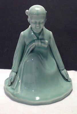 Gorgeous Korean Celadon Porcelain Praying Girl Figurine Statue MARKED