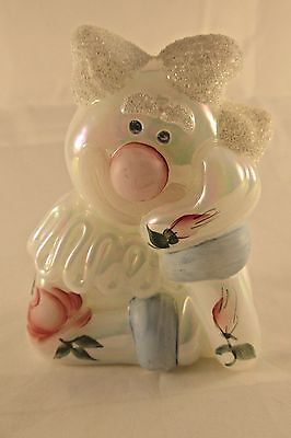 Vintage Fenton Clown Pearl Iridescent with Flowers