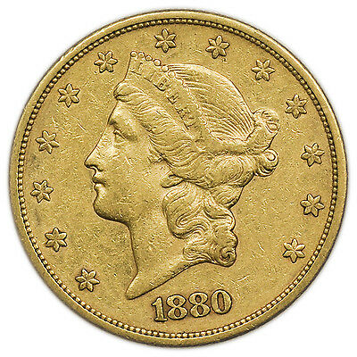 1880-S $20 Liberty Head Gold Double Eagle, Large Circulated Coin [3226.04]