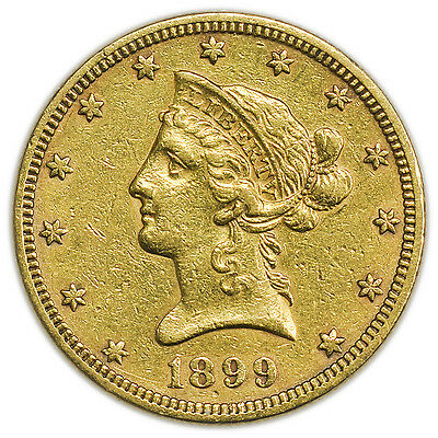 1899 $10 Liberty Head Gold Eagle, Large Circulated Coin [3228.02]