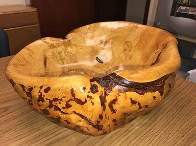 Eaglesong Alaskan Birch Burl Wood Bowl - LARGE Hand Carved Smooth Glossy Finish