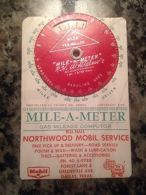 Vintage Mobil Oil Advertising Gas Mileage Computor Mile-A-Meter Wow Rare
