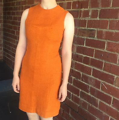 vintage 1960's Orange Linen Shift Dress Size 8-10