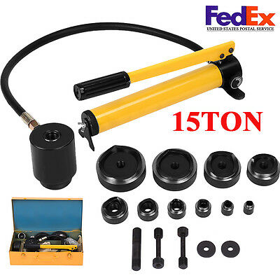 Heavy Duty 10 Dies 15 Ton Hydraulic Knockout Punch Driver Kit Conduit Hole Tool