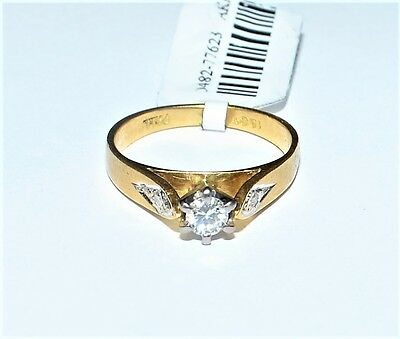 Solid 18k Yellow Gold Diamond Ladies Solitaire Engagement Ring Sz H #776233