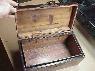 #800 Antique Chinese Black Lacquer Chest Brass Hardware Box