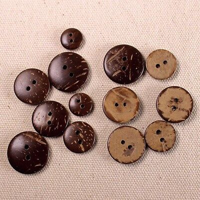 10 Pcs Natural Coconut Wooden Shell Craft DIY 2 Holes Buttons Free Shipping