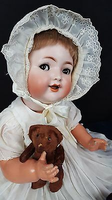 Kammer Reinhardt Simon Halbig 126 Antique Baby Doll Bisque Head Flirty Eyes 17""