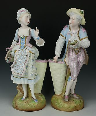 "Antique 19C french Levy & Cie pair of figurines ""Girl & Boy"" WorldWide"